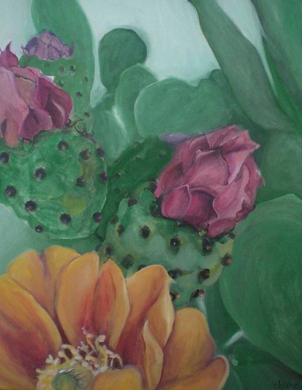 Yellow Poster featuring the painting Yellow Cactus Blossom by Aleksandra Buha