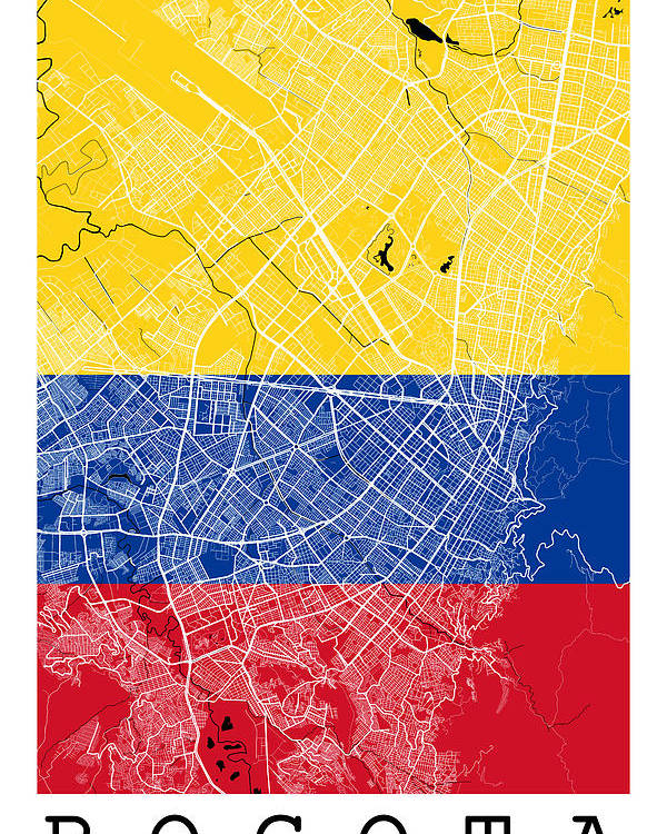 Bogota Street Map - Bogota Colombia Road Map Art On Colored Back ...