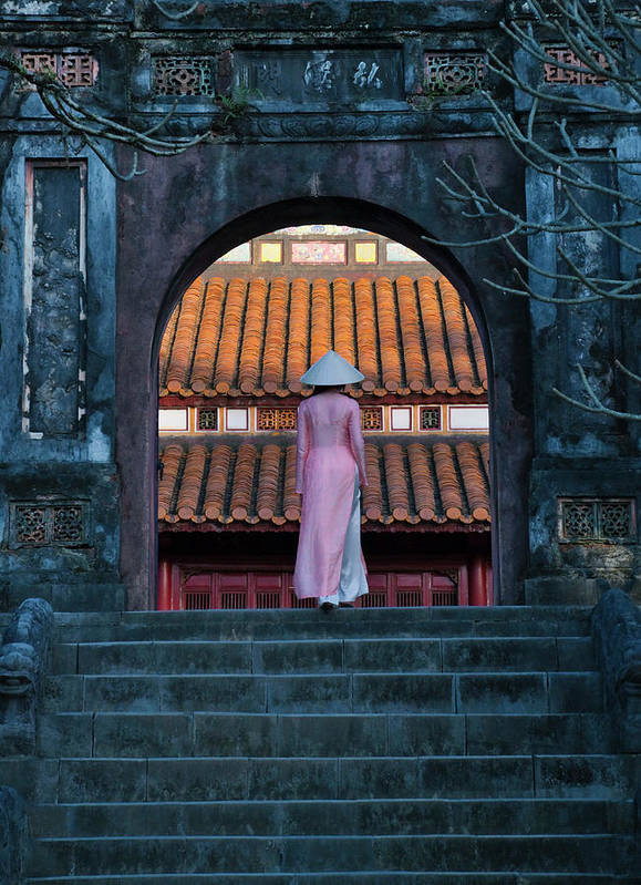 Ao Dai Poster featuring the photograph Girl In Ao Dai (traditional Vietnamese by Keren Su