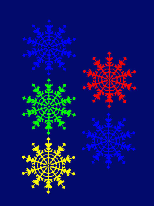 5 Ice Crystals Seen Througt An Electron Microscope Might Inspire You To Have A Marry Christmas Poster featuring the photograph 5 Ice Crystals seen througt an Electron Microscope might inspire you to have a Marry Chris by Asbjorn Lonvig