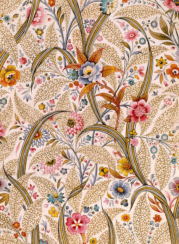 Book Binding; Cover; Endpaper; Floral Pattern; Chintz; Design; 19th; 18th Poster featuring the drawing Marble End Paper by William Kilburn
