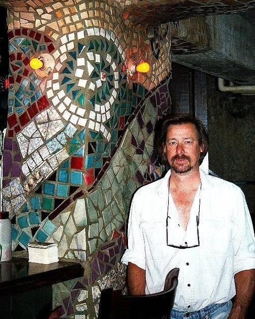 Mosaic Pillar Poster featuring the ceramic art Mosaic Pillar by Charles Lucas