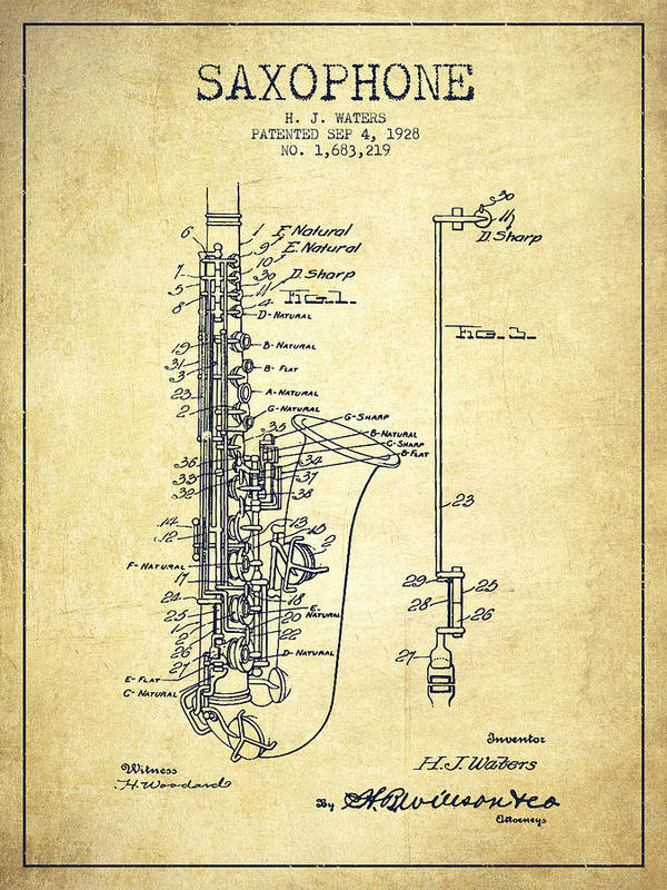 Saxophone Poster featuring the drawing Saxophone Patent Drawing From 1928 by Aged Pixel