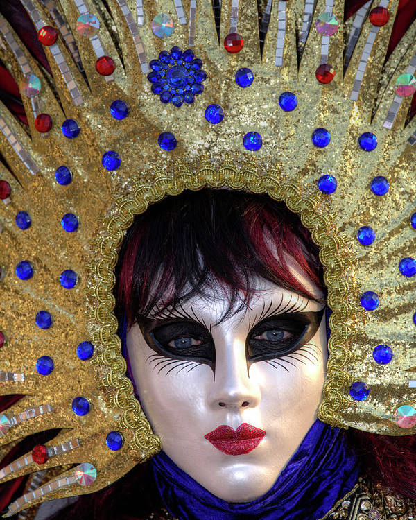 Blue Poster featuring the photograph Venice At Carnival Time, Italy by Darrell Gulin
