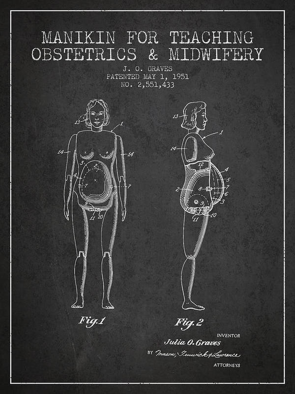 Midwife Poster featuring the drawing Manikin For Teaching Obstetrics And Midwifery Patent From 1951 - by Aged Pixel