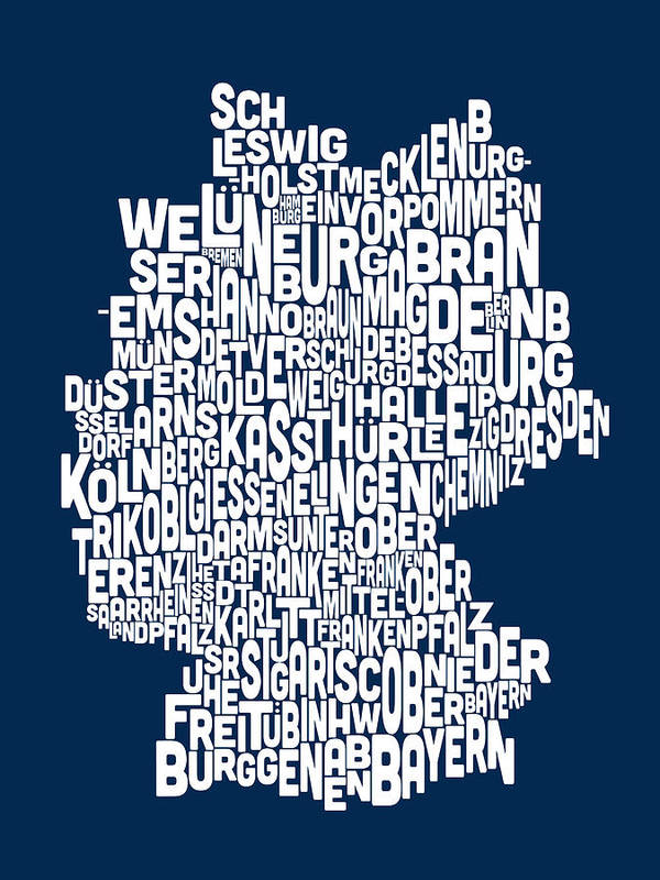 Text Map Poster featuring the digital art Text Map Of Germany Map by Michael Tompsett