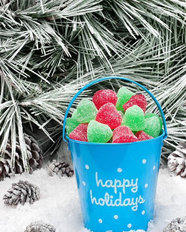 Christmas Poster featuring the photograph Decorative Pail Of Christmas Candy by Joe Belanger