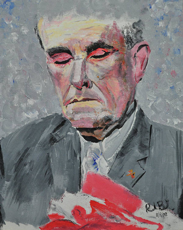 9-11 Poster featuring the painting 9-11 Mayor Giuliani by Ruben Barbosa