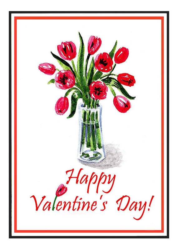 Valentine Poster featuring the painting Happy Valentines Day by Irina Sztukowski