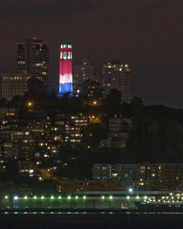 911 Poster featuring the photograph 911 Commemorative Lighting On Coit Tower by Scott Lenhart