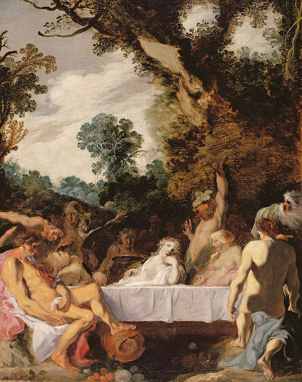 Orgy Poster featuring the painting A Bacchanalian Feast, C.1617 by Johann Liss or Lis or von Lys