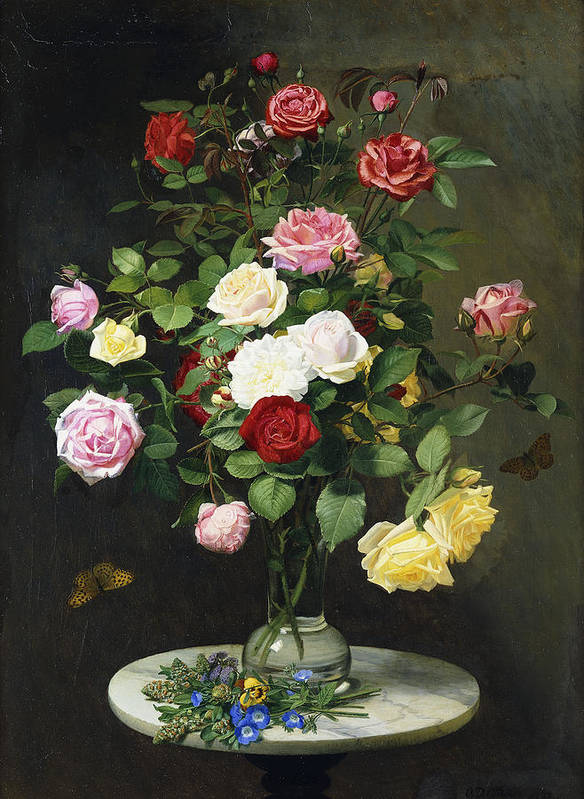 Still-life Poster featuring the painting A Bouquet Of Roses In A Glass Vase By Wild Flowers On A Marble Table by Otto Didrik Ottesen