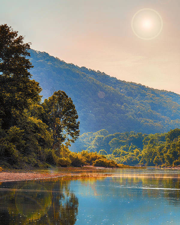 Sunset Poster featuring the photograph A Buffalo River Morning by Bill Tiepelman
