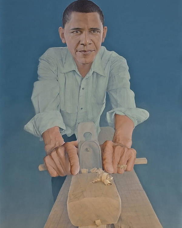 Barack Obama Poster featuring the painting A Carpenter Chinese Citizen Barack Obama by Tu Guohong