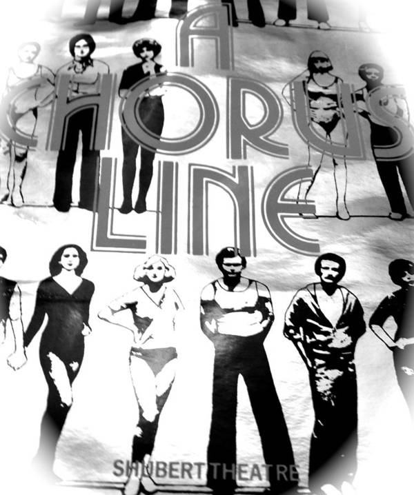 Music Poster featuring the photograph A Chorus Line Vintage Bw II by Toni Ryder