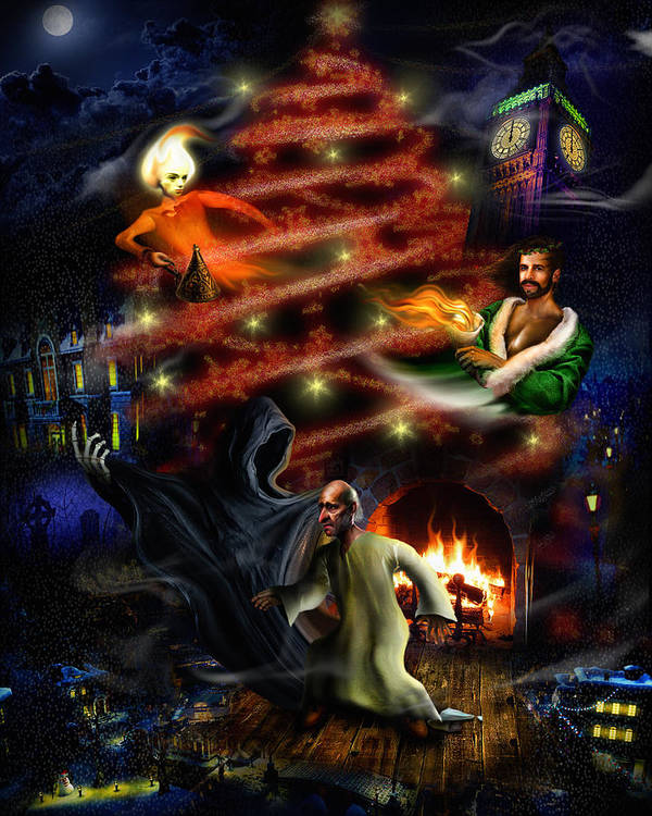 A Christmas Carol Poster featuring the digital art A Christmas Carol by Alessandro Della Pietra