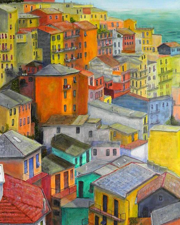 Seaside Poster featuring the painting A Cinque Terre Village by Dan Bozich