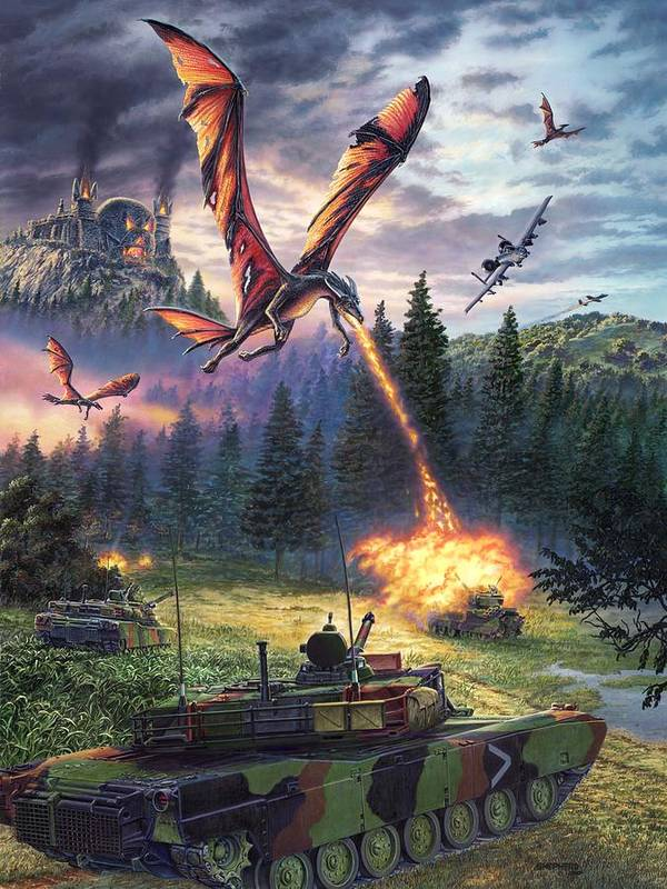 Dragon Poster featuring the painting A Clash Of Worlds by Stu Shepherd