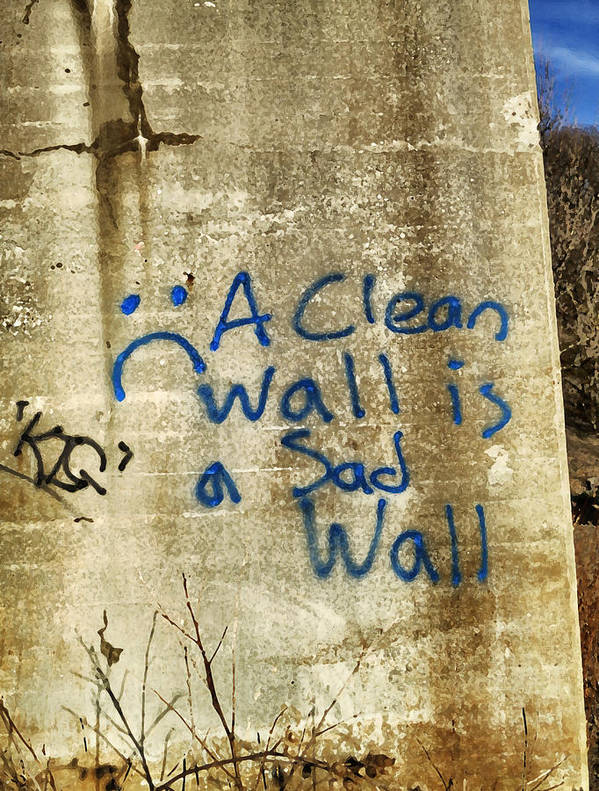 Graffiti Poster featuring the photograph A Clean Wall Is A Sad Wall by Patricia Januszkiewicz
