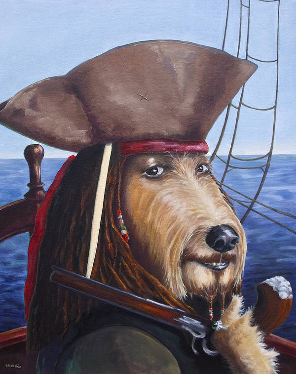 Dog Poster featuring the painting A Doodle On The High Seas by Diane Daigle