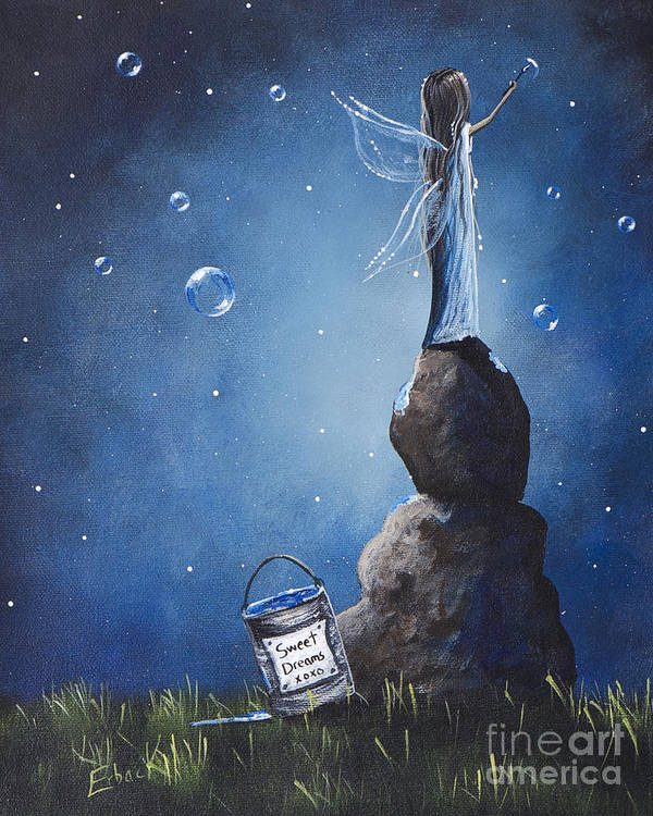 Fairy Poster featuring the painting A Fairy's Nighttime Gift By Shawna Erback by Shawna Erback