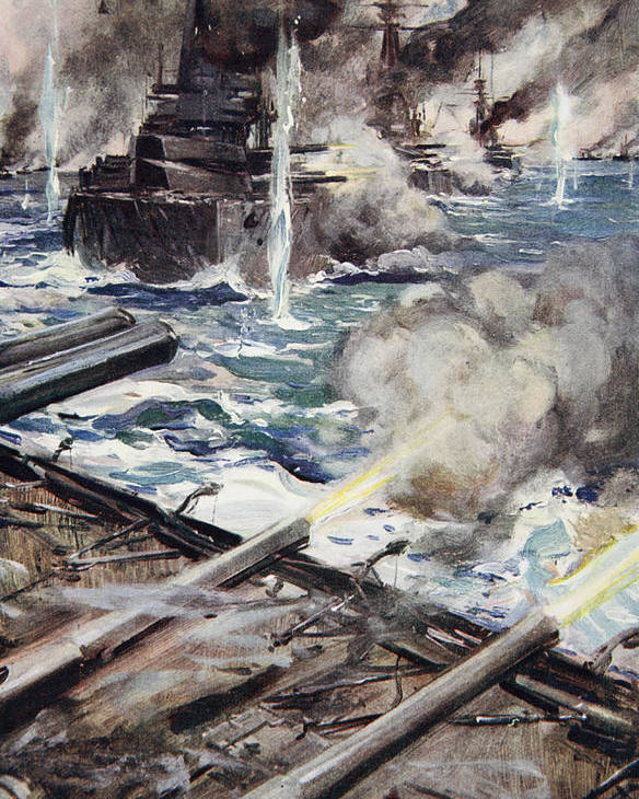 World War I Poster featuring the drawing A Fleet Of Battleships Firing by Cyrus Cuneo