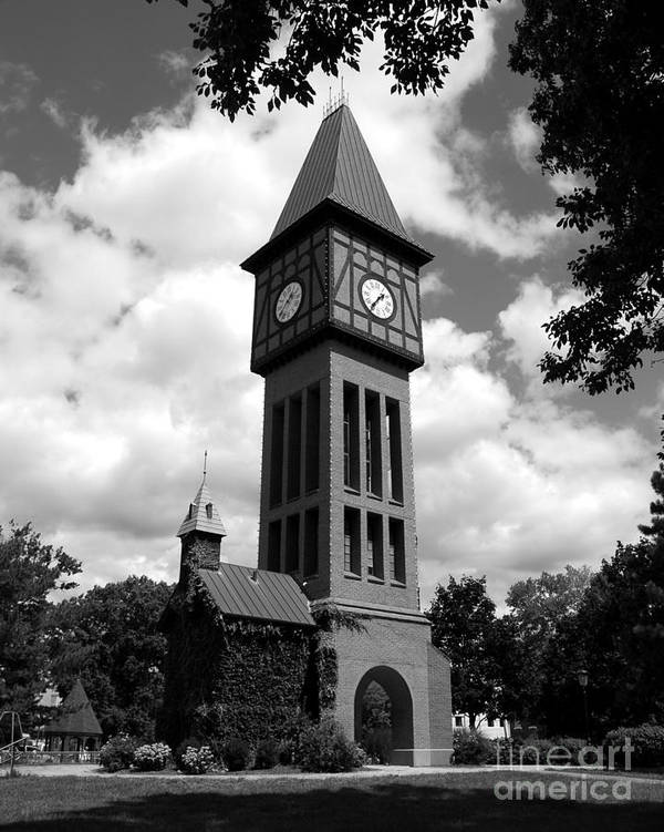 A German Bell Tower Poster featuring the photograph A German Bell Tower Bw by Mel Steinhauer
