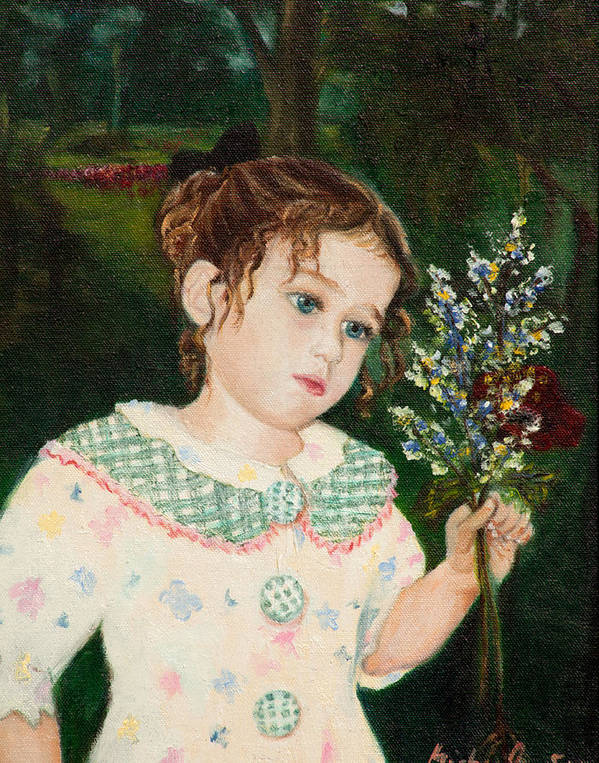 Girl Poster featuring the painting A Little Girl With Flowers by Michal Schwarz