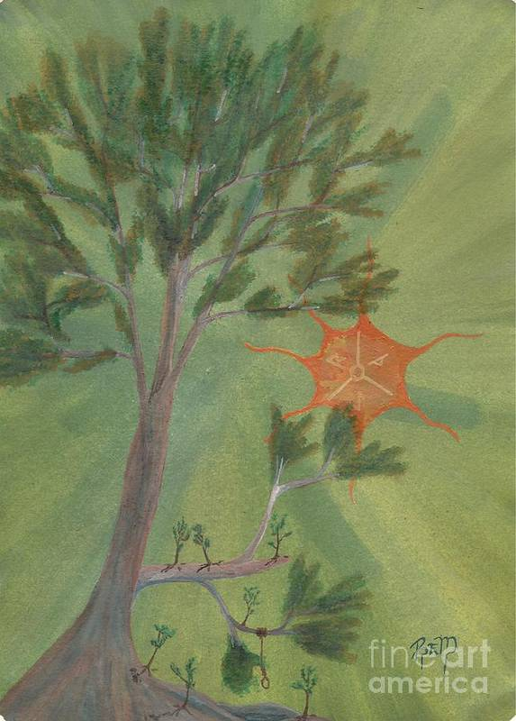 Watercolor Poster featuring the painting A Great Tree Grows by Robert Meszaros