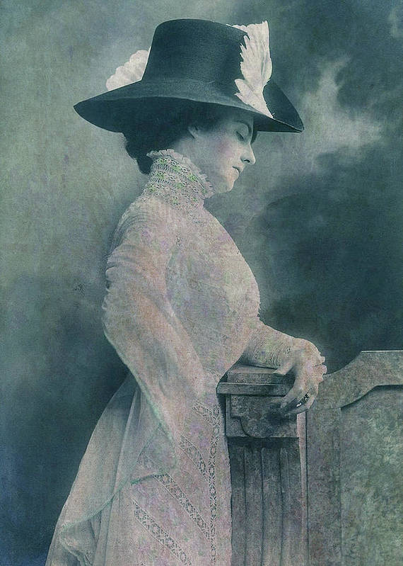 A Lady Ponders Poster featuring the digital art A Lady Ponders by Sarah Vernon