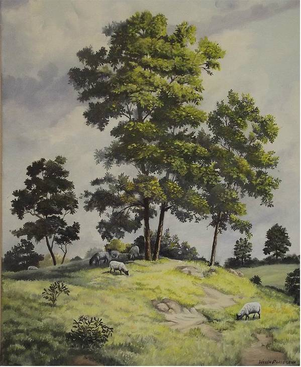 Landscape Poster featuring the painting A Lazy Day For Grazing by Wanda Dansereau