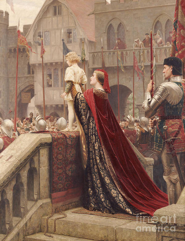 Leighton Poster featuring the painting A Little Prince Likely In Time To Bless A Royal Throne by Edmund Blair Leighton