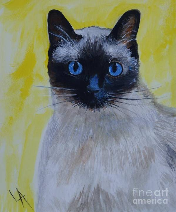Siamese Poster featuring the painting A Loving Siamese by Leslie Allen