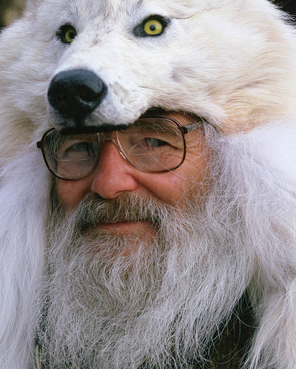 A Man Wearing A Fur Wolf Hat Poster By Cary Anderson