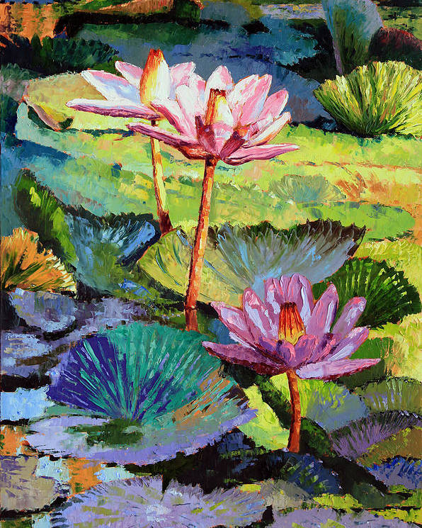 Water Lilies Poster featuring the painting A Moment In Sunlight by John Lautermilch