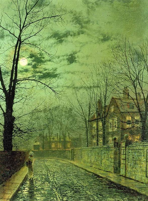 Street Poster featuring the painting A Moonlit Road by John Atkinson Grimshaw