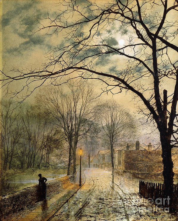 British Poster featuring the painting A Moonlit Stroll Bonchurch Isle Of Wight by John Atkinson Grimshaw
