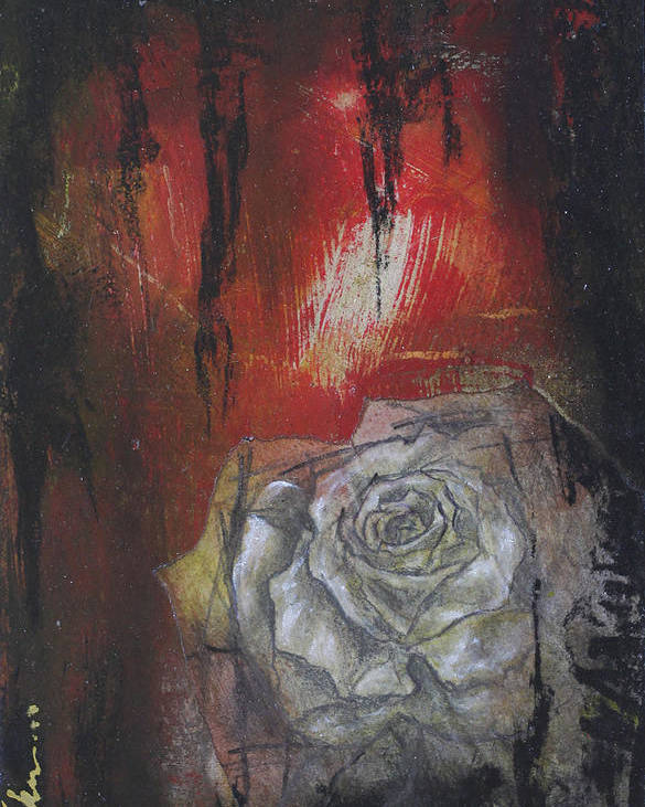 Floral Poster featuring the mixed media A Peek Of Beauty No.2 by Bhreon Bynum