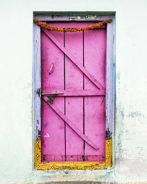 Old Poster featuring the photograph A Pink Door by Tim Gainey