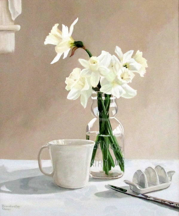 Daffodils Poster featuring the painting A Pint Of Daffodils by Sandra Chase