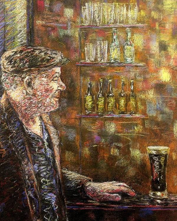 Pastel Poster featuring the pastel A Quiet Guinness by John Nolan