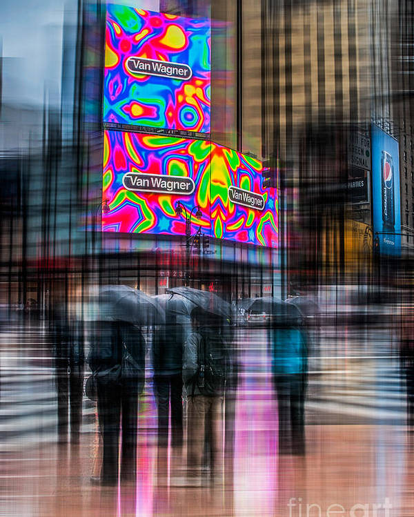 Nyc Poster featuring the photograph A Rainy Day In New York by Hannes Cmarits
