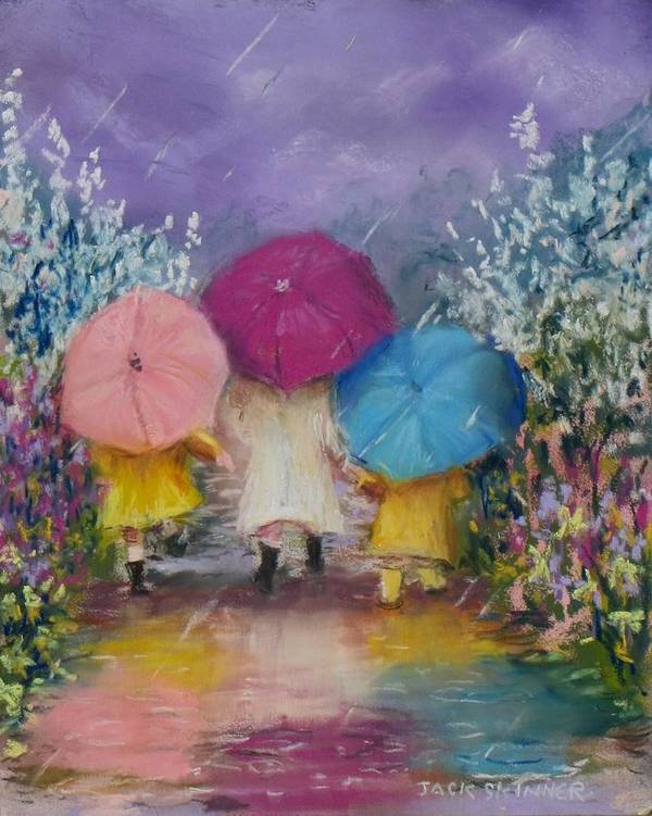 Rainy Poster featuring the painting A Rainy Day Stroll With Mom by Jack Skinner
