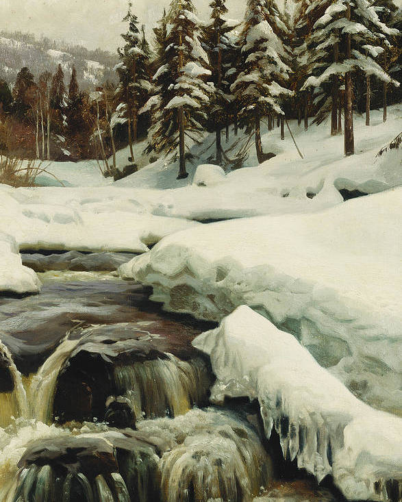 Danish Poster featuring the painting A Winter Landscape With A Mountain Torrent by Peder Monsted