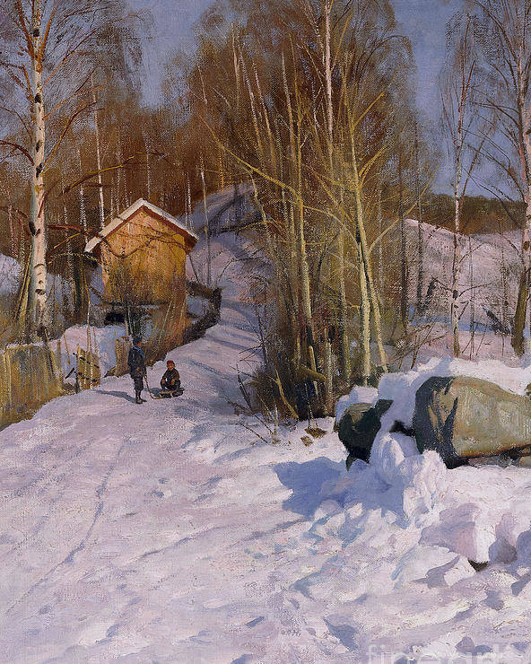 1918 Poster featuring the painting A Winter Landscape With Children Sledging by Peder Monsted