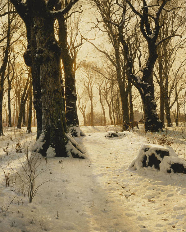 1910s Poster featuring the painting A Wooded Winter Landscape With Deer by Peder Monsted