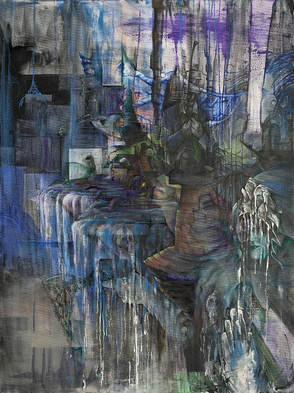 A Year Without Inhibition Abstract Surreal Waterfall Dream Fantasy Modern Landscape End Of The World Psychedelic Dark Blue Black Ship Unique Edgy Grunge Distressed Stressed Mind Vision Thought Hypnotic Cubism Majestic Lady Night Temptation Original Water Fall Falling Dreary Sad Mysterious Think Brain Oil Canvas Paint Large Water Color Acrylic Muted Dull  Poster featuring the painting A Year Without Inhibition by Henry Keller