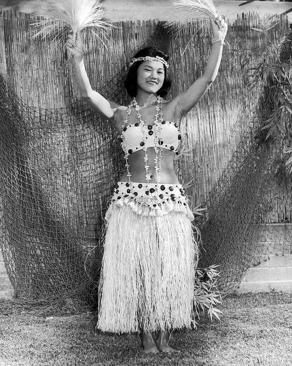 1 Person Poster featuring the photograph A Young Hawaiian Hula Woman by Underwood Archives