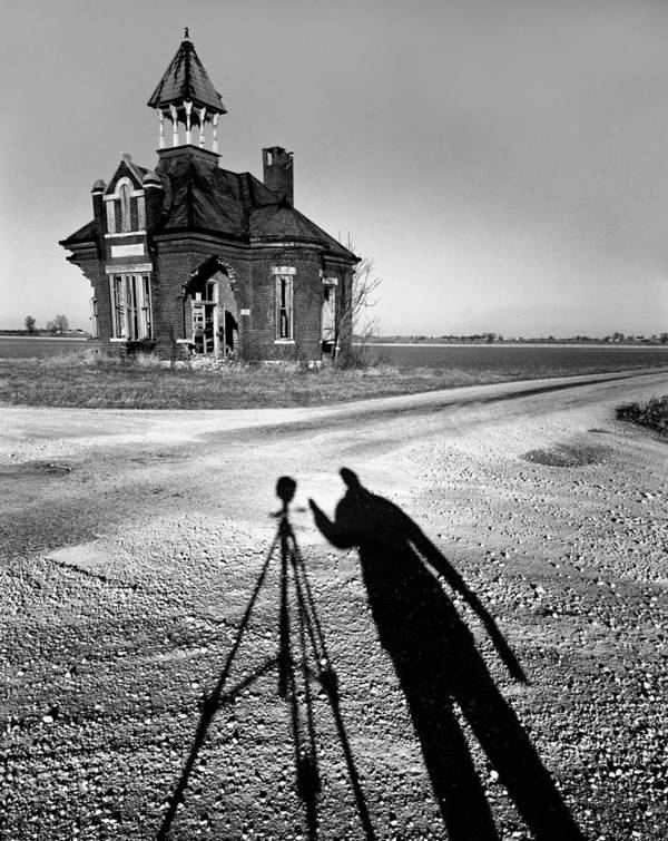 Self Portrait Poster featuring the photograph Abandoned School House And My Shadow Circa 1985 by John Hanou