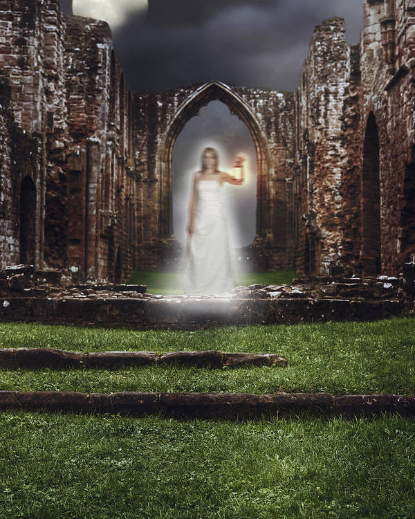 Ghost Poster featuring the photograph Abbey Ghost by Amanda Elwell